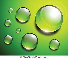 gotas del agua, verde