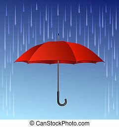 gotas, guarda-chuva, vermelho, chuva