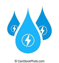 gotas, icono, energía, hydro