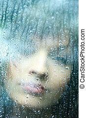 gotas, mulher, jovem, chuva, triste