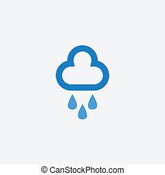 gotas, nube, lluvia, icono