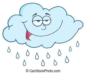gotas, nube, lluvia