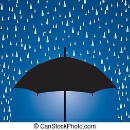 gotas, paraguas, lluvia, protección