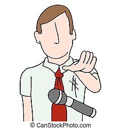 goteante, micrófono, hombre de negocios
