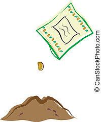 goteante, paquete de semillas