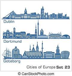 goteborg., dortmund, ヨーロッパ, ダブリン, 都市, 詳しい, -, architecture.
