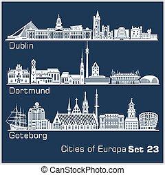 goteborg., dortmund, europa, dublin, miasto, szczegółowy, -, architecture.