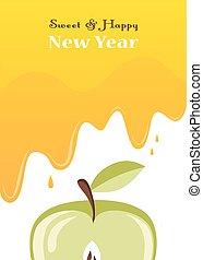 gotejamentos, mel, cartão, rosh, sobre, hashanah, apple.
