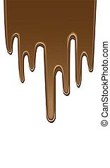 gotejando, chocolate