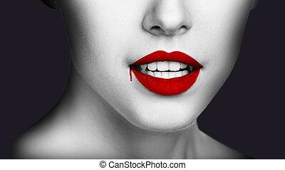gotejando, sangue, vampiro, lábios, excitado, mulher