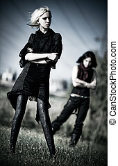 goth, 女性, 2, 屋外で