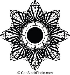 A gothic design with a floral influence aranged around a star design