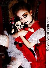 Goth Doll Woman - Artistic goth portrait of woman in goth...