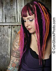 Goth girl emotion - Portrait of a beautiful female goth with...