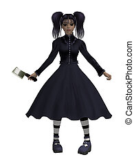 goth, girl, hache