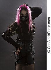 Goth girl with gas mask - teenage girl wearing goth inspired...