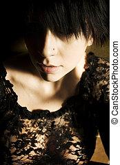 Goth girl with short spiky hair