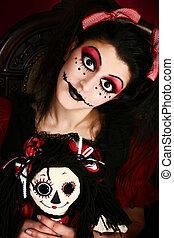 goth, manželka, kostým, panenka