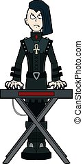goth, mann, keyboardist, spielende , auf, synthesizer