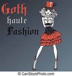 goth, vestido, vetorial, menina preta, seda, chapéu