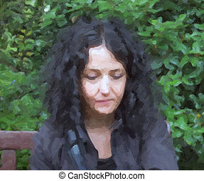 Goth woman oil paint