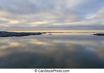 Gothenburg archipelago in winter drone photo