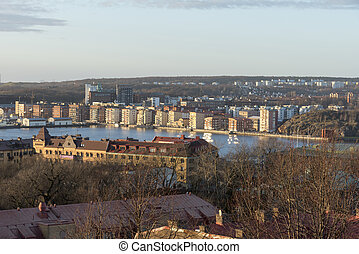 Gothenburg city at the riverside in winter