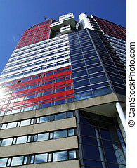 A view of the red and white striped utkiken tower block situated on the Gothenburg waterfront in Sweden.