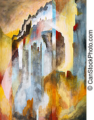 Gothic - a semi-abstract painting which hints at a gothic ...