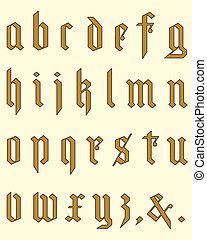 Gothic classic alphabet in editable vector file