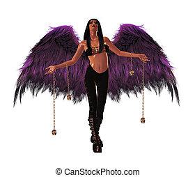 Gothic Angel - Gothic angel holding silver skulls