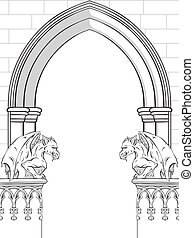Gothic arch with gargoyles vector illustration