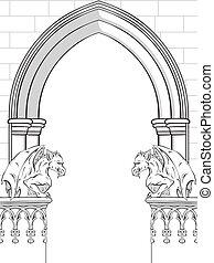Gothic Arch With Gargoyles Vector Illustration