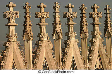 the gothic roof detail at the cathedral in Milan