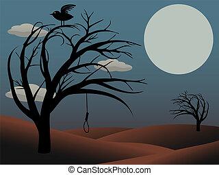 Gothic Bird Sits creepy curvy tree - Night scene scary trees...