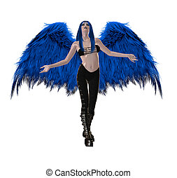 Gothic Blue Angel - Gothic blue angel with wings spread and...