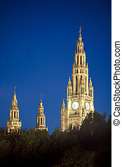 Gothic building tower of Vienna city hall, Rathause, at...
