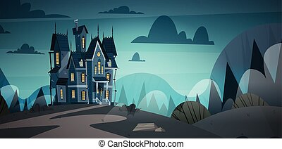 Gothic Castle House In Moonlight Scary Building With Ghosts Halloween Holiday Concept