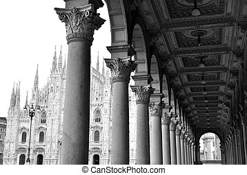 Gothic cathedral of Milan, Italy - View of ancient arcade ...