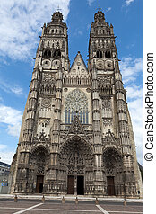 Gothic cathedral of Saint Gatien in Tours, Loire Valley...