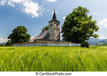 Gothic church in Ludrova village near Ruzomberok in Slovakia...
