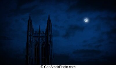 Gothic Church Spire With Moon Above - Full moon above Gothic...
