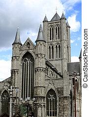 gothic church - St. Nicholas\\\' Church in Gent, Belgium