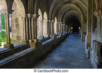 Gothic cloister - Cloister of the Tui cathedral, Galicia. ...