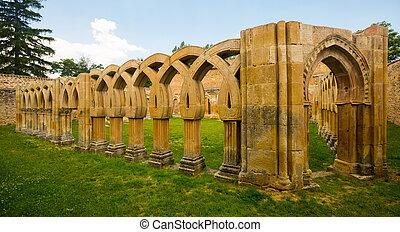 Gothic cloister of San Juan de Duero Monastery in Soria -...