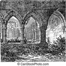 Gothic cloisters and arch at Kilconnel Abbey, in County Galway, Ireland. Old engraving
