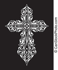 fully editable vector illustration of gothic cross in white on isolated black background, image suitable for design elements, logo, crest, emblem, insignia or tattoo