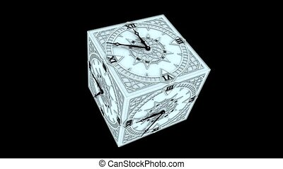 Gothic Cube Clock Countdown From 10 to 0 Animation