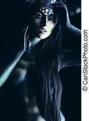 Gothic darkness - Beautiful and scary devil woman. Art...