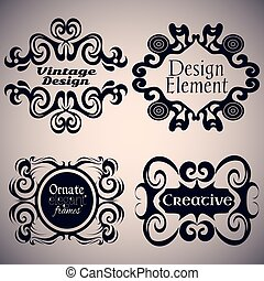 Gothic frame set. Calligraphic design elements